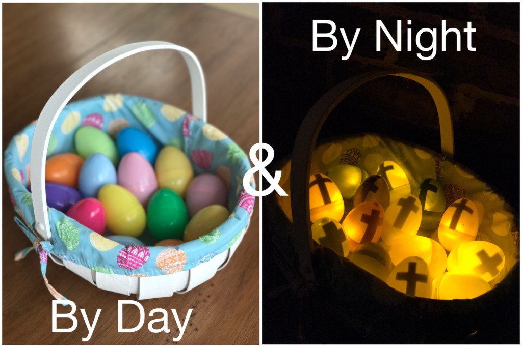 Easter light-up egg hunt eggs by day and by night
