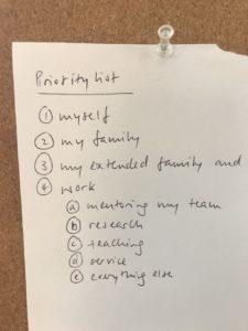 List of priorities.