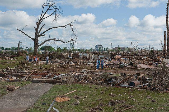 Tornado preparedness - storm damage and destroyed buildings