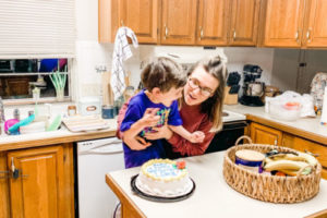 Giving myself grace: the picture of life with only glass balls. I almost didn't post this online because of the messy kitchen and hair, but my oldest was beyond happy about this birthday cake.