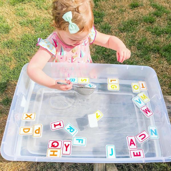 Sensory bin play - water is always an easy medium!