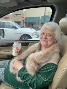 Drive thru diet lemonade and a long overdue haircut with precautions while out for a doctor's appointment made her smile. My mom's in a nursing home during the pandemic.