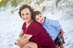 Author and her son on a beach