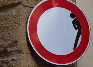 Street Sign, Man Hiding, Awkward