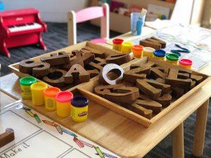 Kindergarten Room, Letter blocks, Play doh